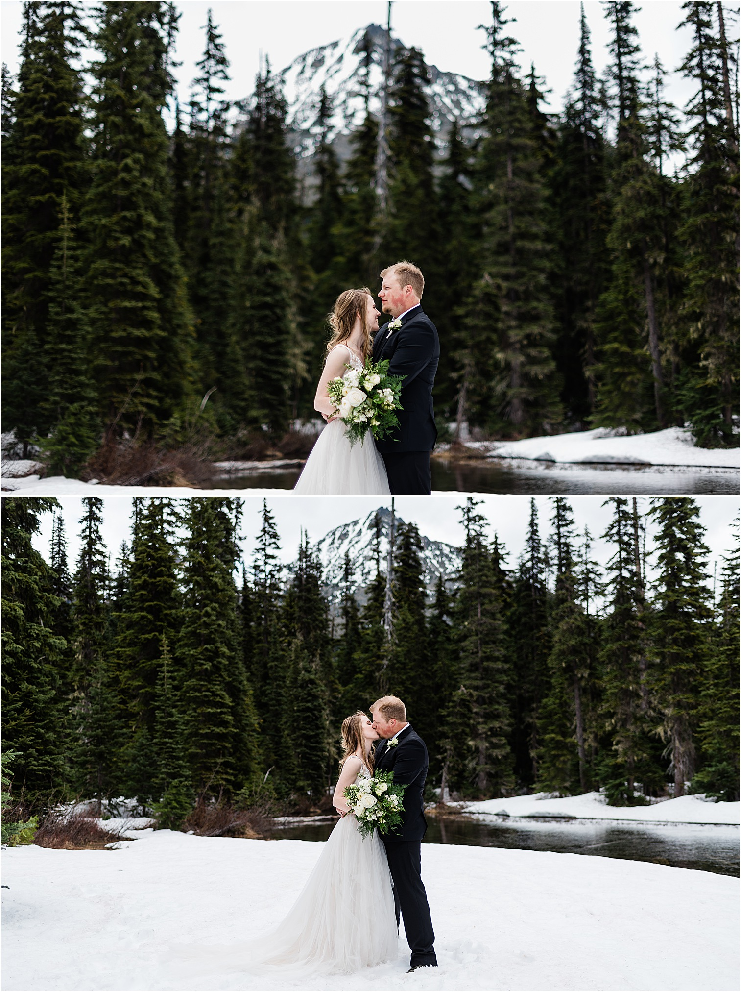 Hope & Steven admiring a quiet, wintry lake during their Adventure Wedding in the North Cascades. Image by Forthright Photo, Seattle Wedding & Elopement Photographers