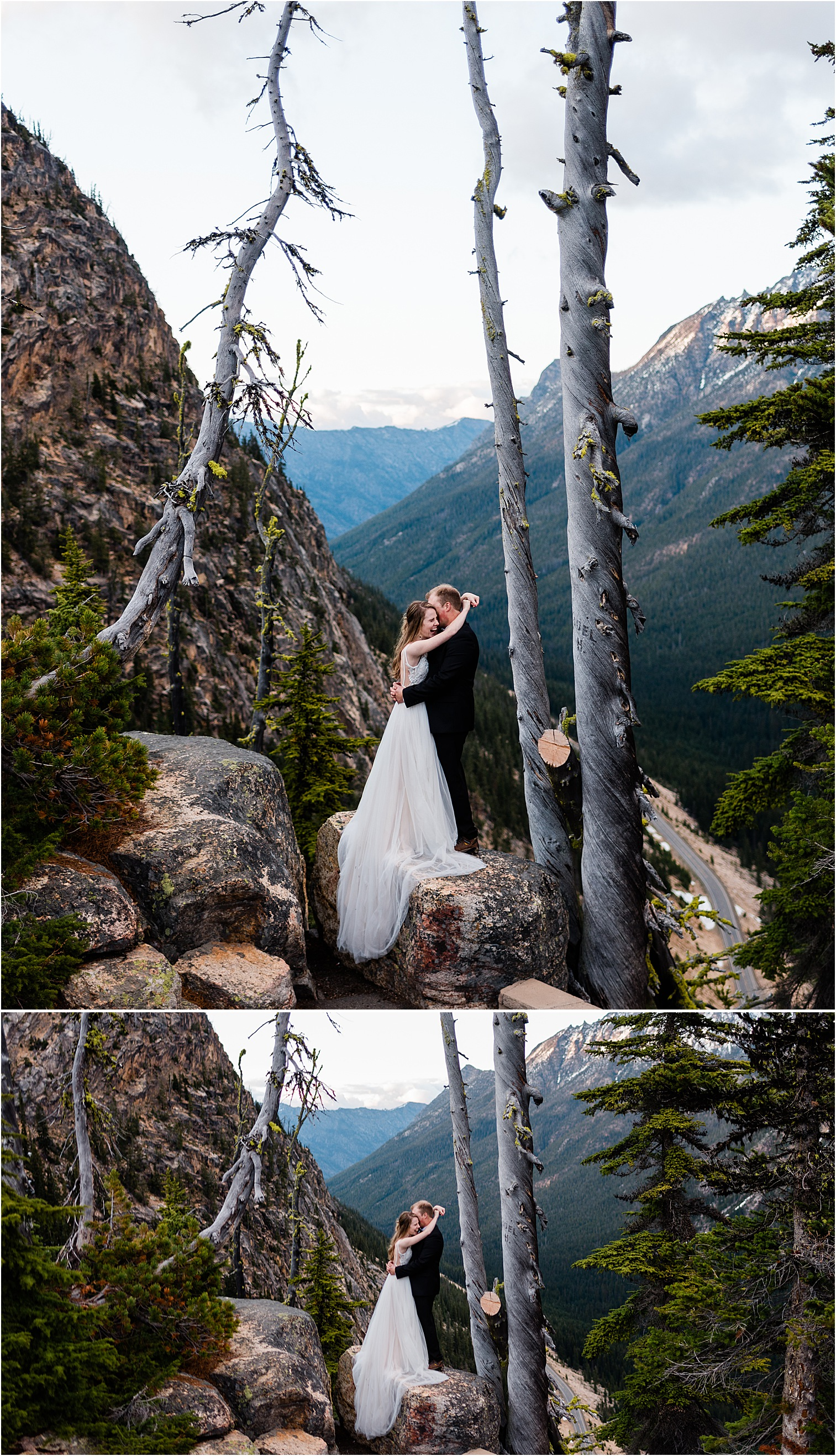 Collage of Hope & Steven enjoying Washington Pass overlook during their Adventure Wedding in North Cascades National Park. Image by Forthright Photo, Seattle Wedding & Elopement Photographers