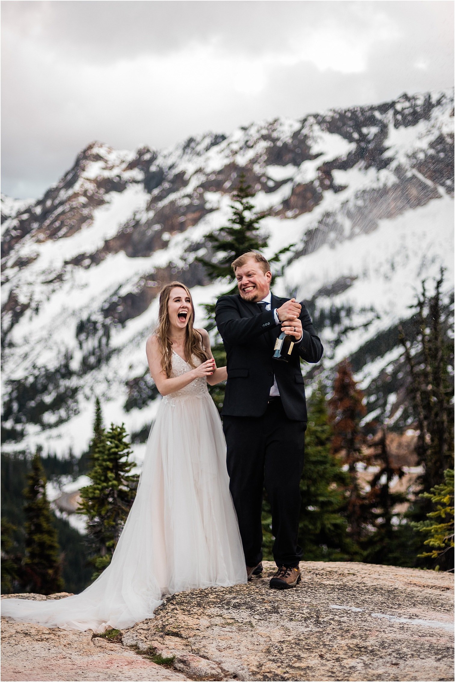 Hope & Steven celebrating their new marriage with champagne at sunset in North Cascades. Image by Forthright Photo, Seattle Wedding & Elopement Photographers