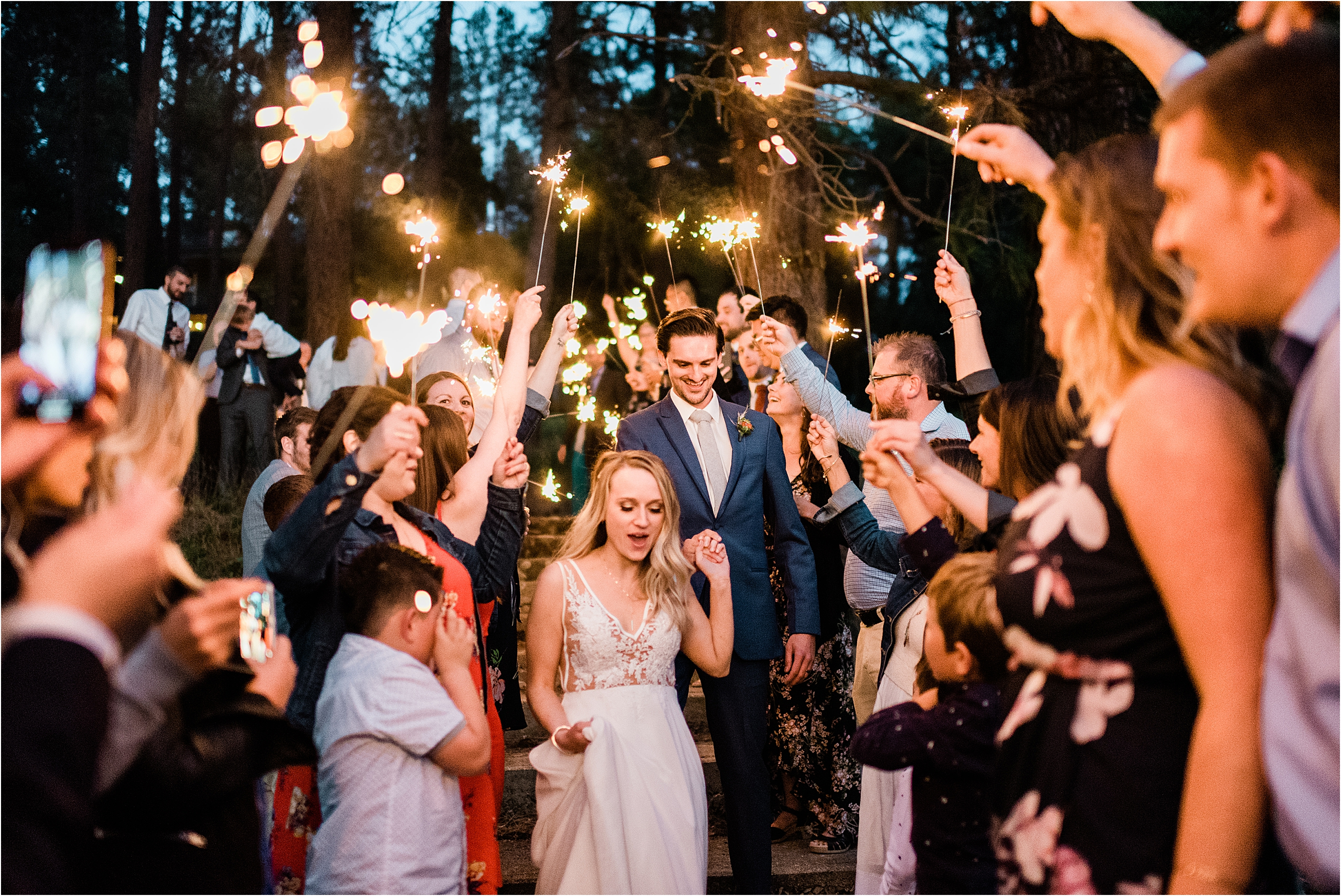 Zephyr Lodge Wedding Sparkler Exit. Image by Forthright Photo