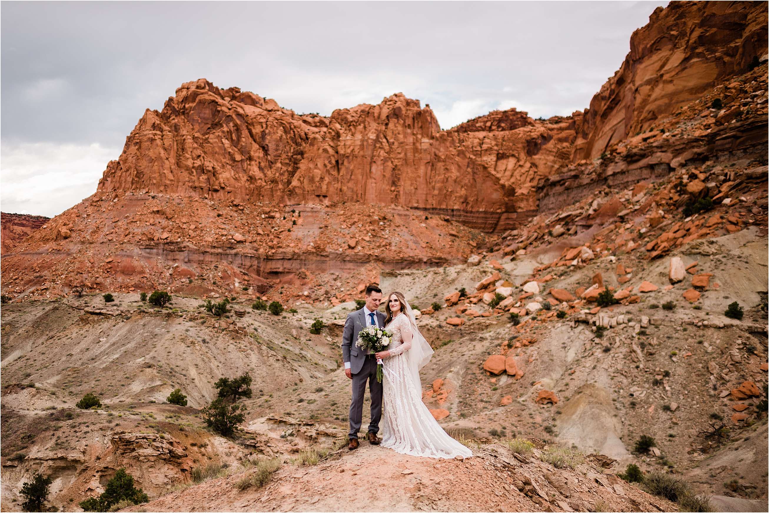 Beth & Austin's pre-wedding adventure at Capitol Reef National Park. Image by Forthright Photo.