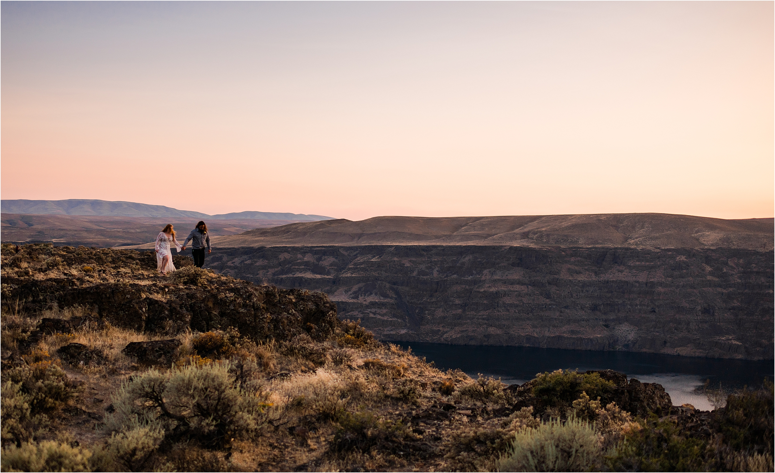 Caitlin & Tarnell on the Columbia River Gorge at sunset. Wild Horse Monument Elopement Inspiration by Forthright Photo.