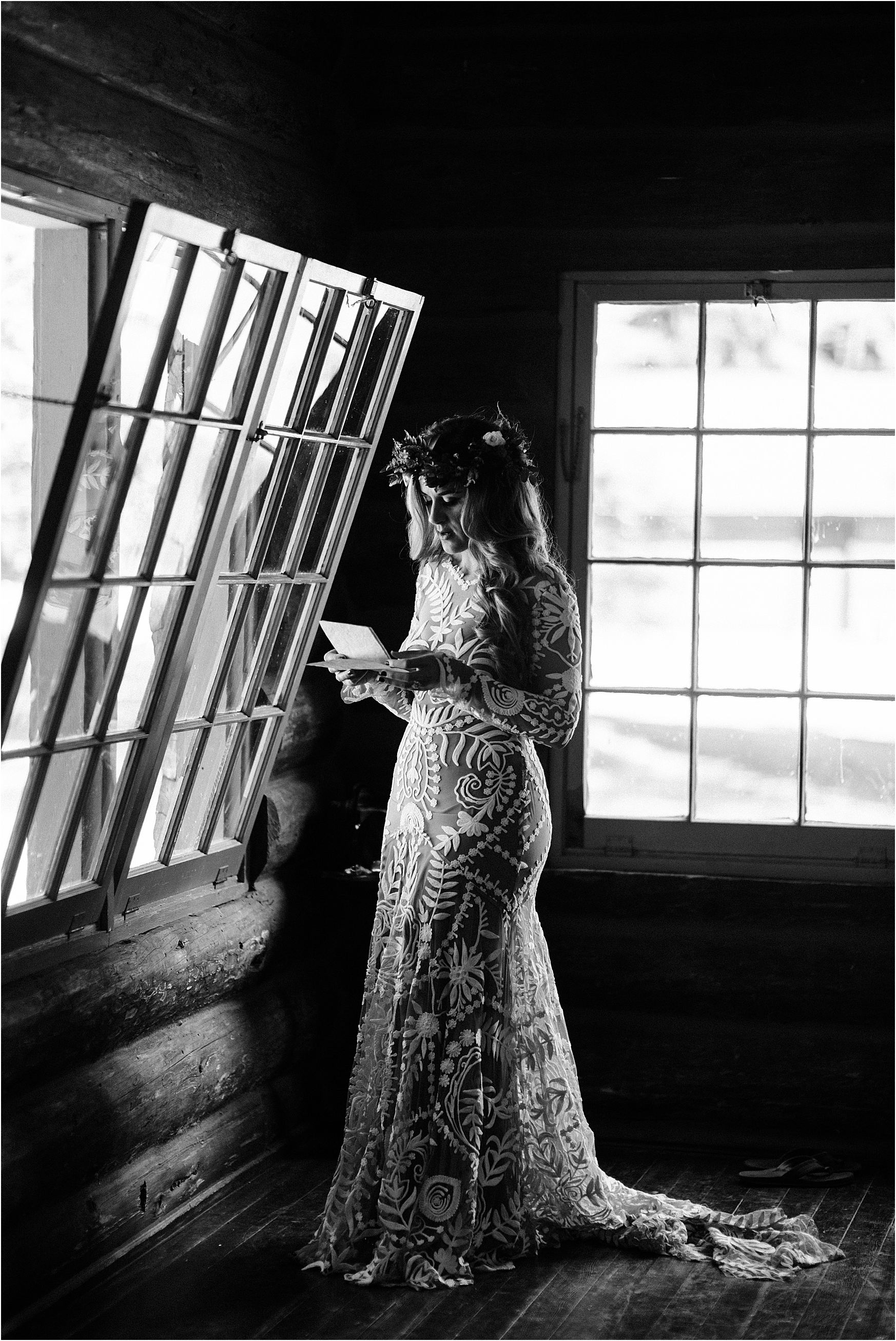 Bride rehearsing her vows at Cassy & Viva's bohemian Oregon destination wedding at Camp Lane. Image by Forthright Photo.