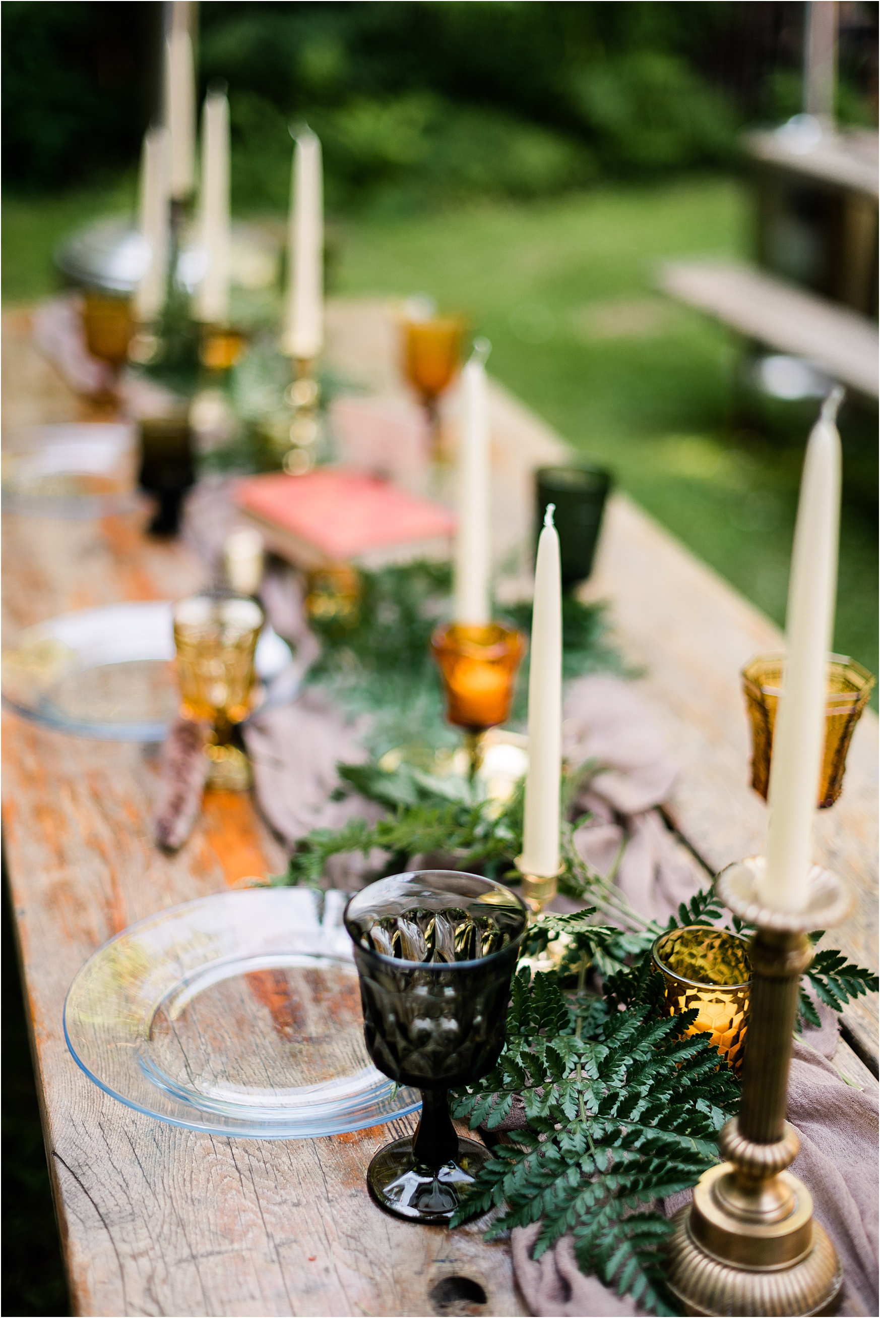 Reception Tablescape & Decor at Cassy & Viva's bohemian Oregon destination wedding at Camp Lane. Image by Forthright Photo.