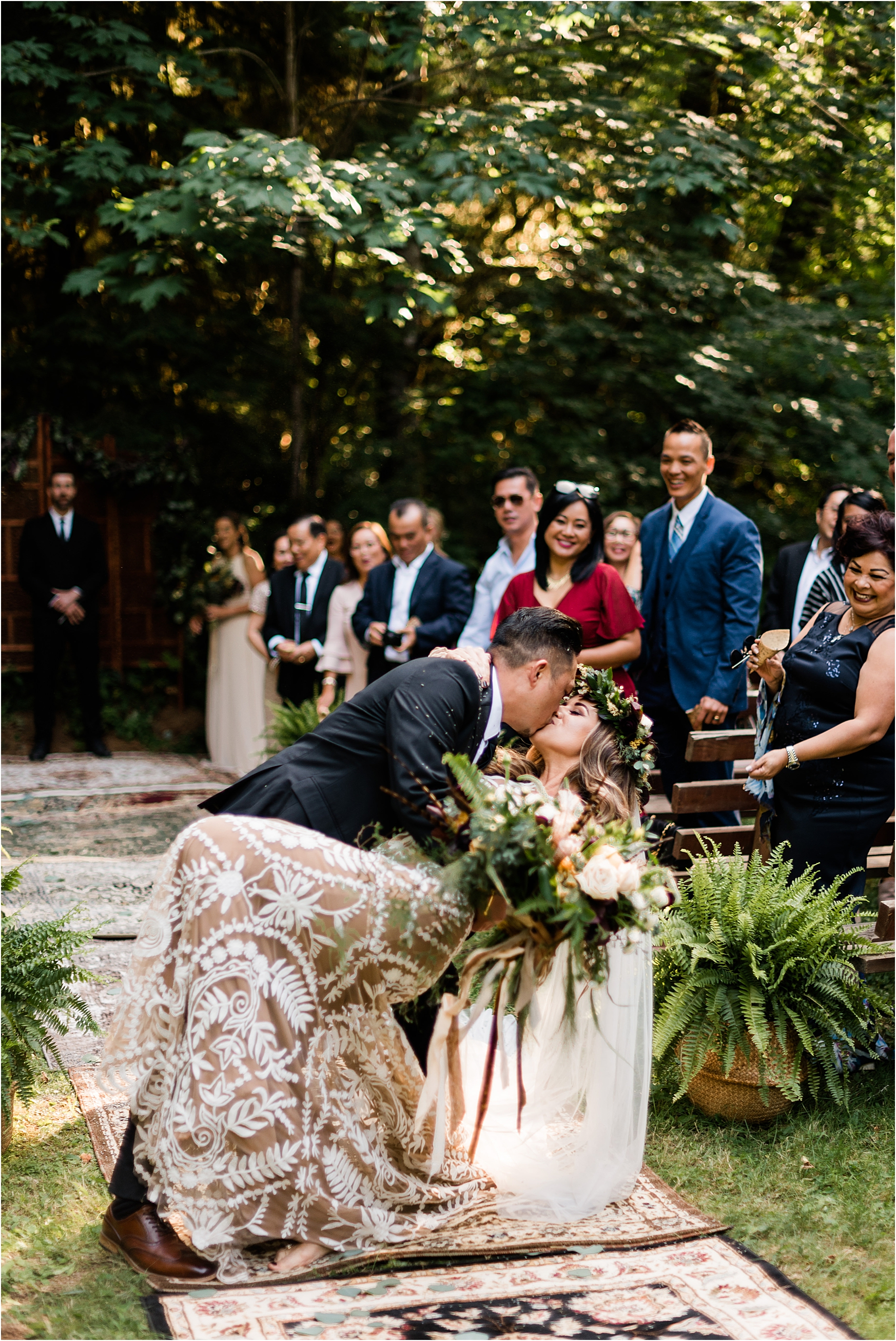 Ceremony exit at Cassy & Viva's bohemian Oregon destination wedding at Camp Lane. Image by Forthright Photo.