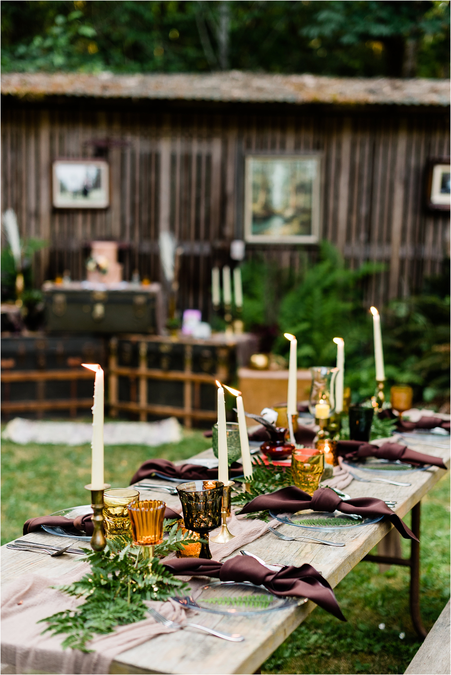 Table decor at Cassy & Viva's bohemian Oregon destination wedding at Camp Lane. Image by Forthright Photo.