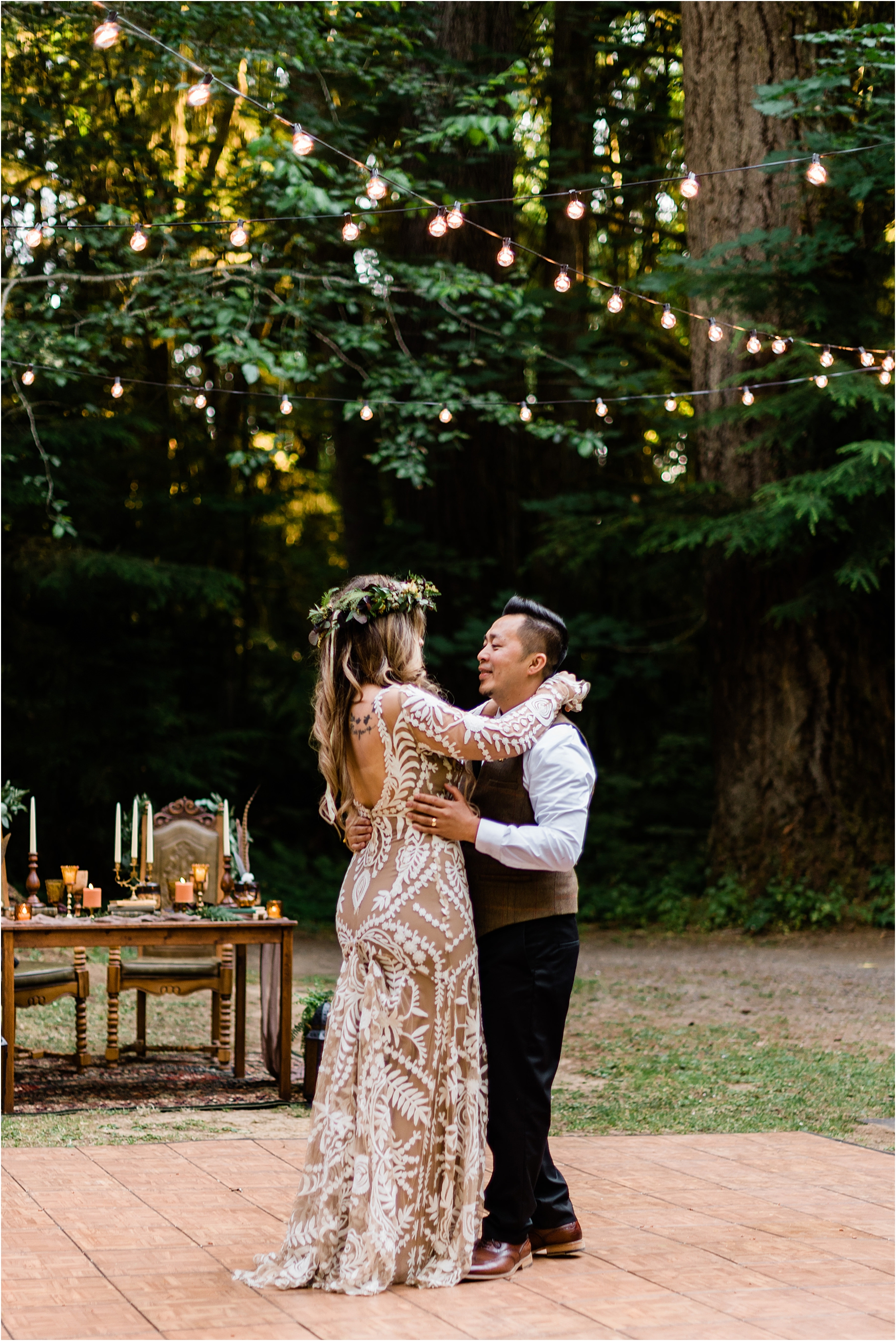 First dance at Cassy & Viva's bohemian Oregon destination wedding at Camp Lane. Image by Forthright Photo.