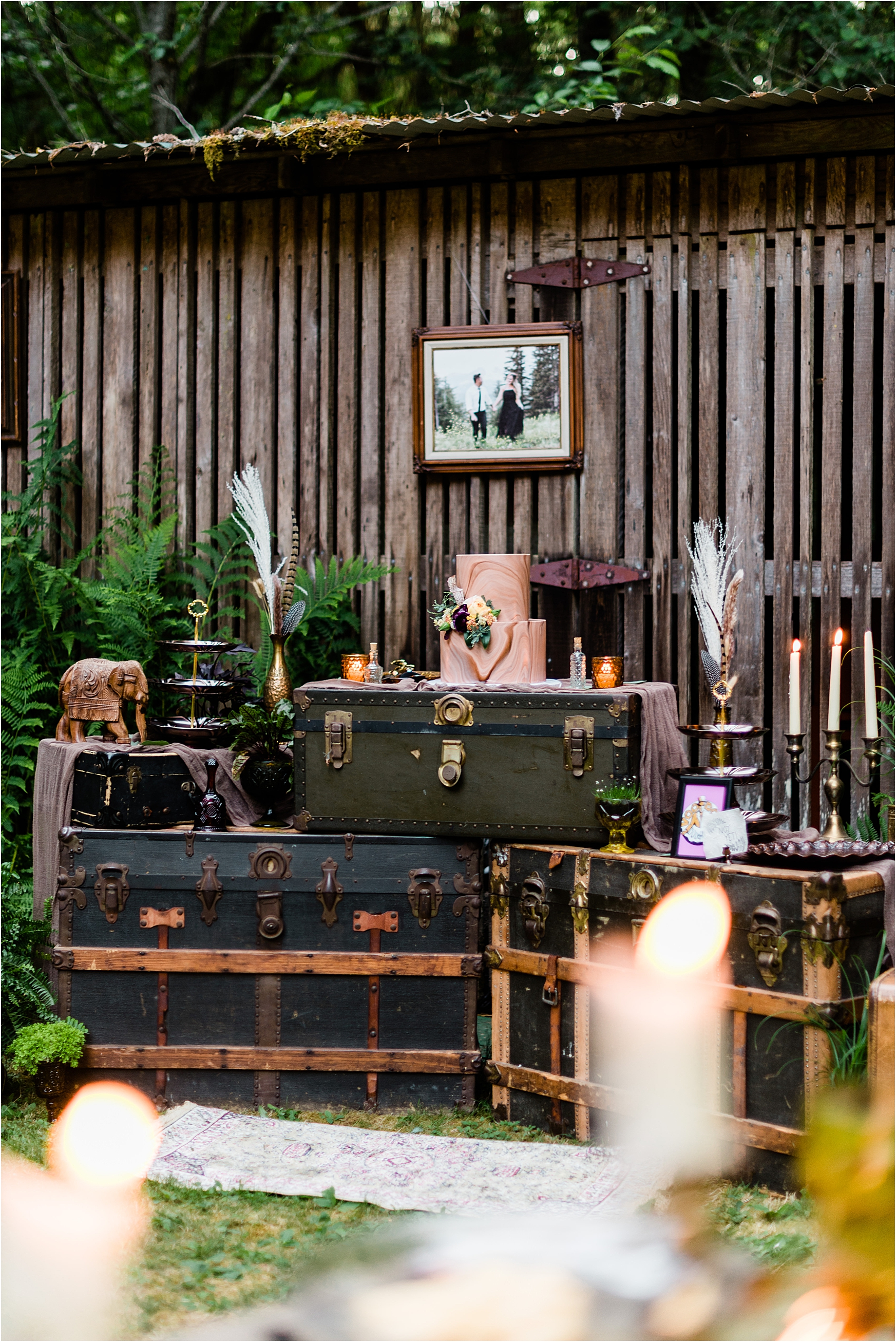 Dessert table decor at Cassy & Viva's bohemian Oregon destination wedding at Camp Lane. Image by Forthright Photo.