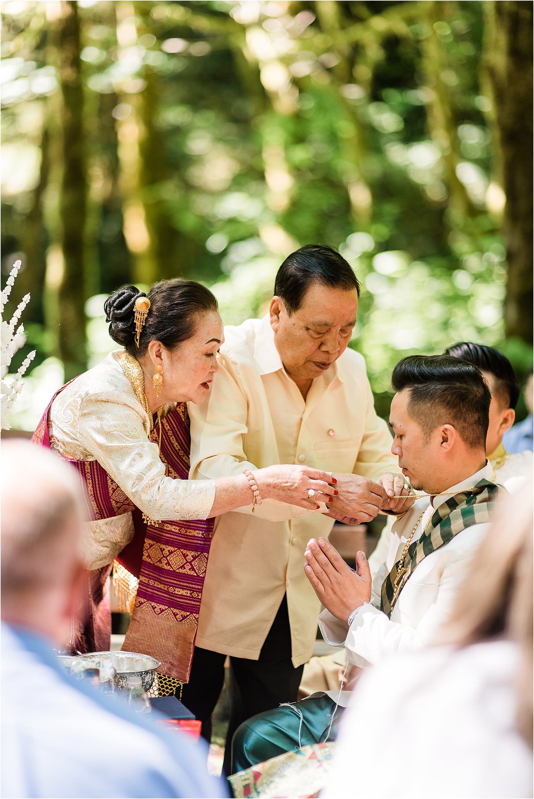 Traditional Laos wedding ceremony at Camp Lane, Oregon. Image by Forthright Photo, Seattle Wedding & Elopement Photographers.