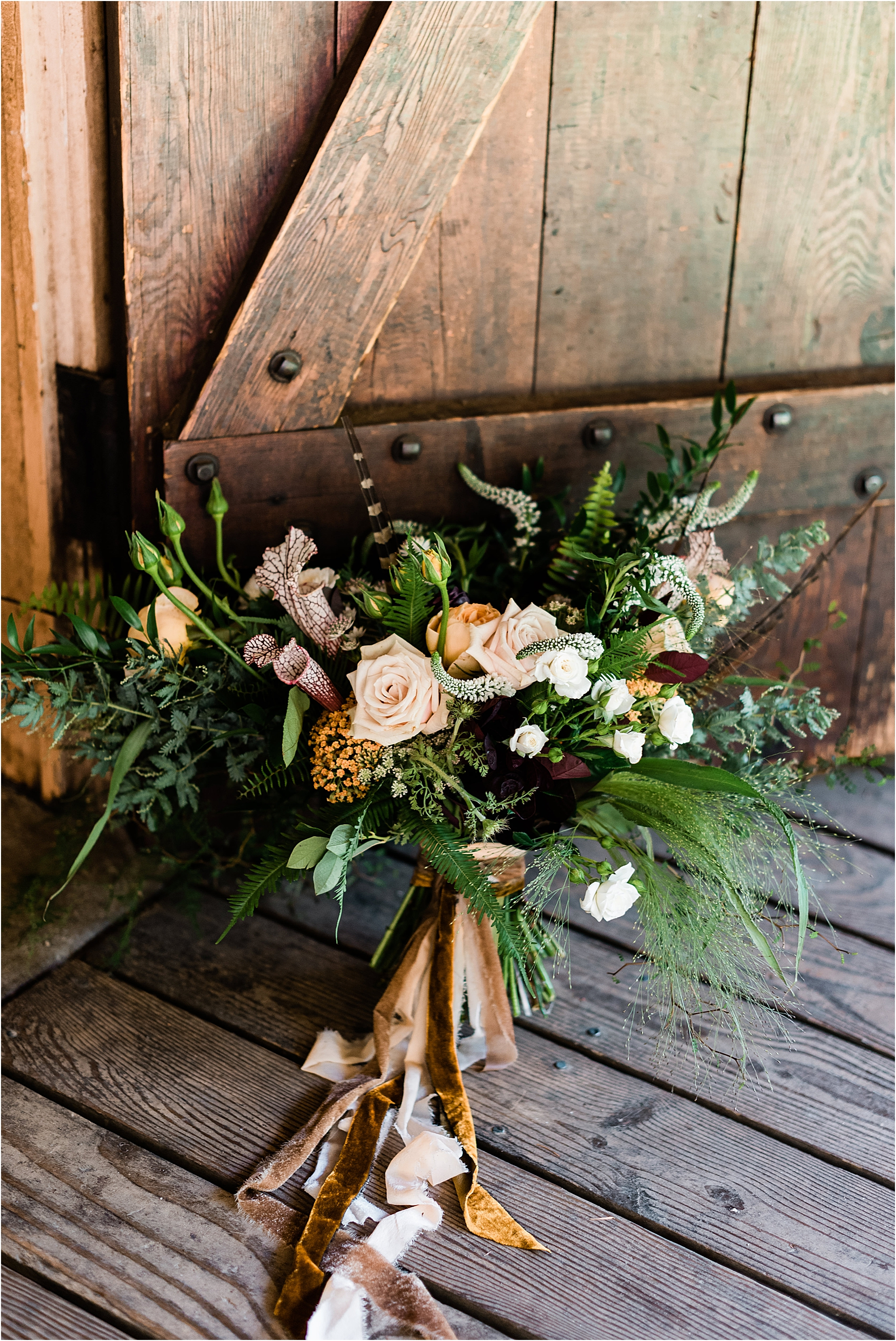 Jewel toned bouquet. Woodsy, Bohemian Destination Wedding at Camp Lane, Oregon. Image by Forthright Photo.