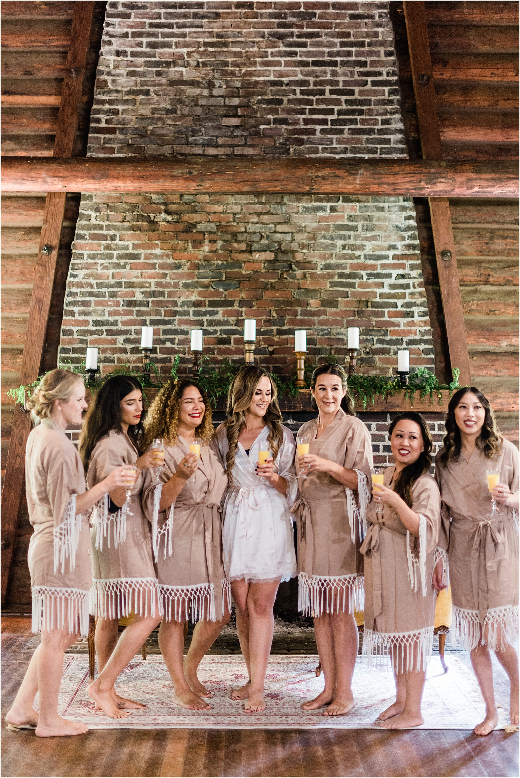 Bridesmaids getting ready at Destination Wedding at Camp Lane, Oregon. Image by Forthright Photo.