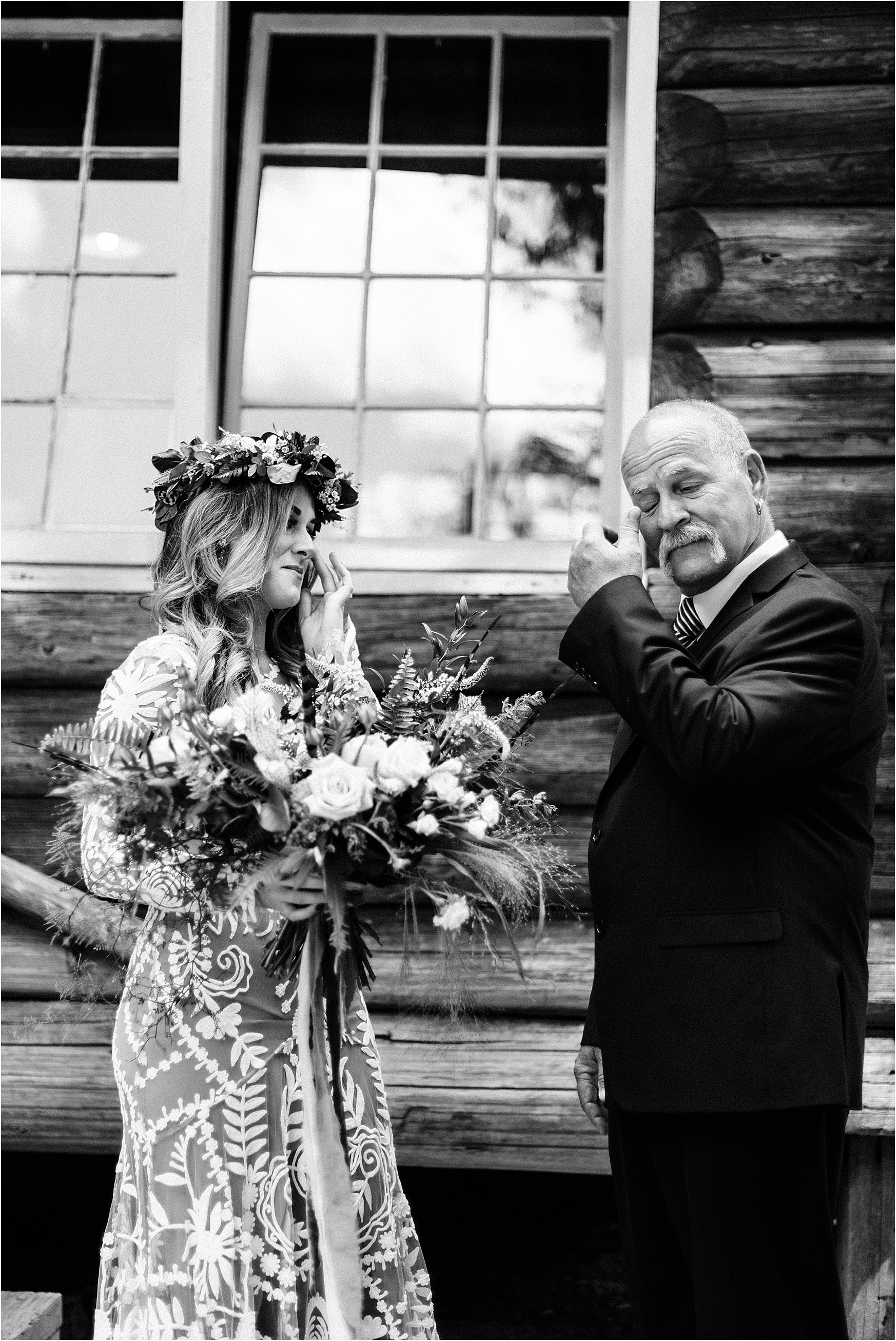 Emotional father daughter first look at Cassy & Viva's bohemian Oregon destination wedding at Camp Lane. Image by Forthright Photo.