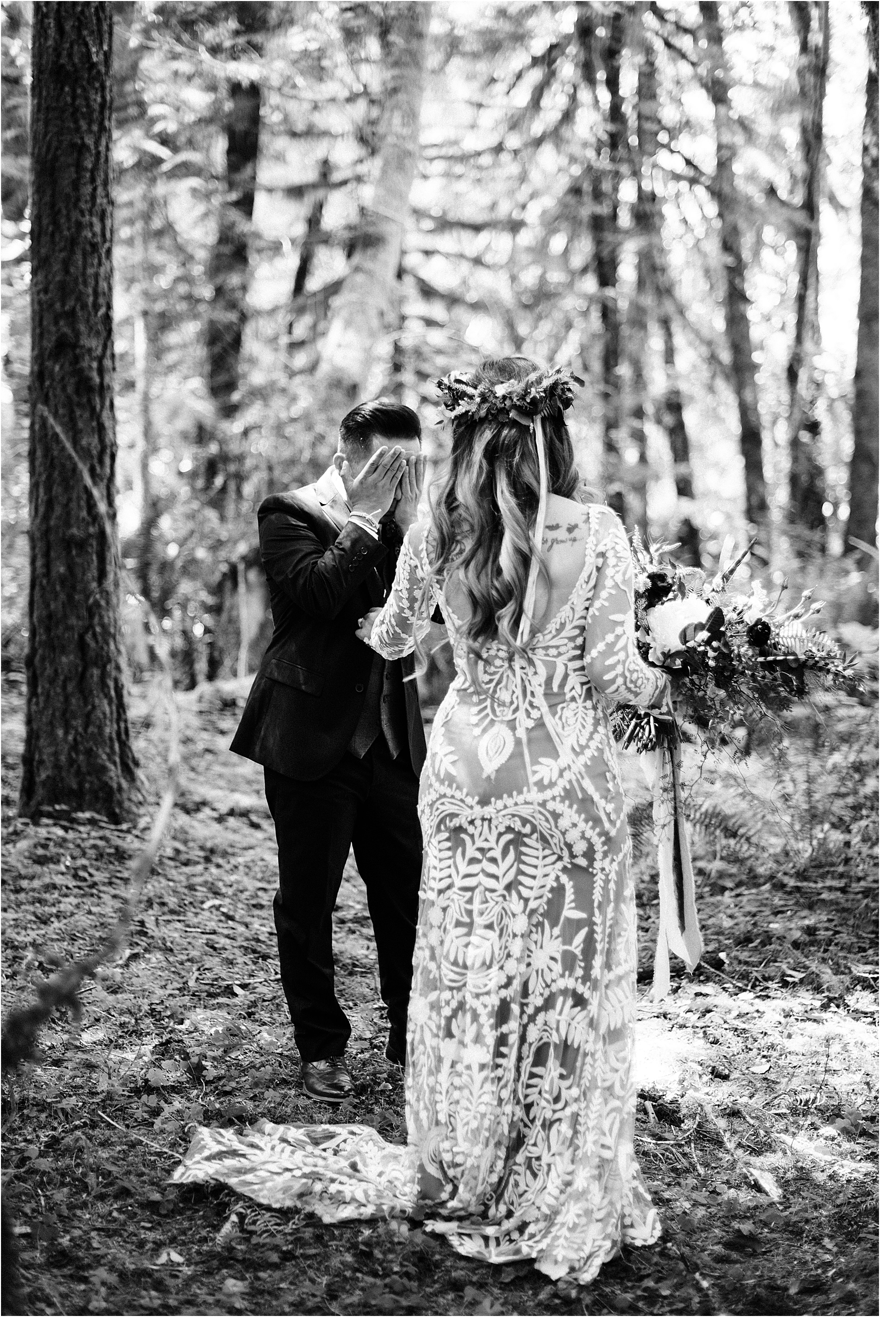 Emotional first look at Cassy & Viva's bohemian Oregon destination wedding at Camp Lane. Image by Forthright Photo.