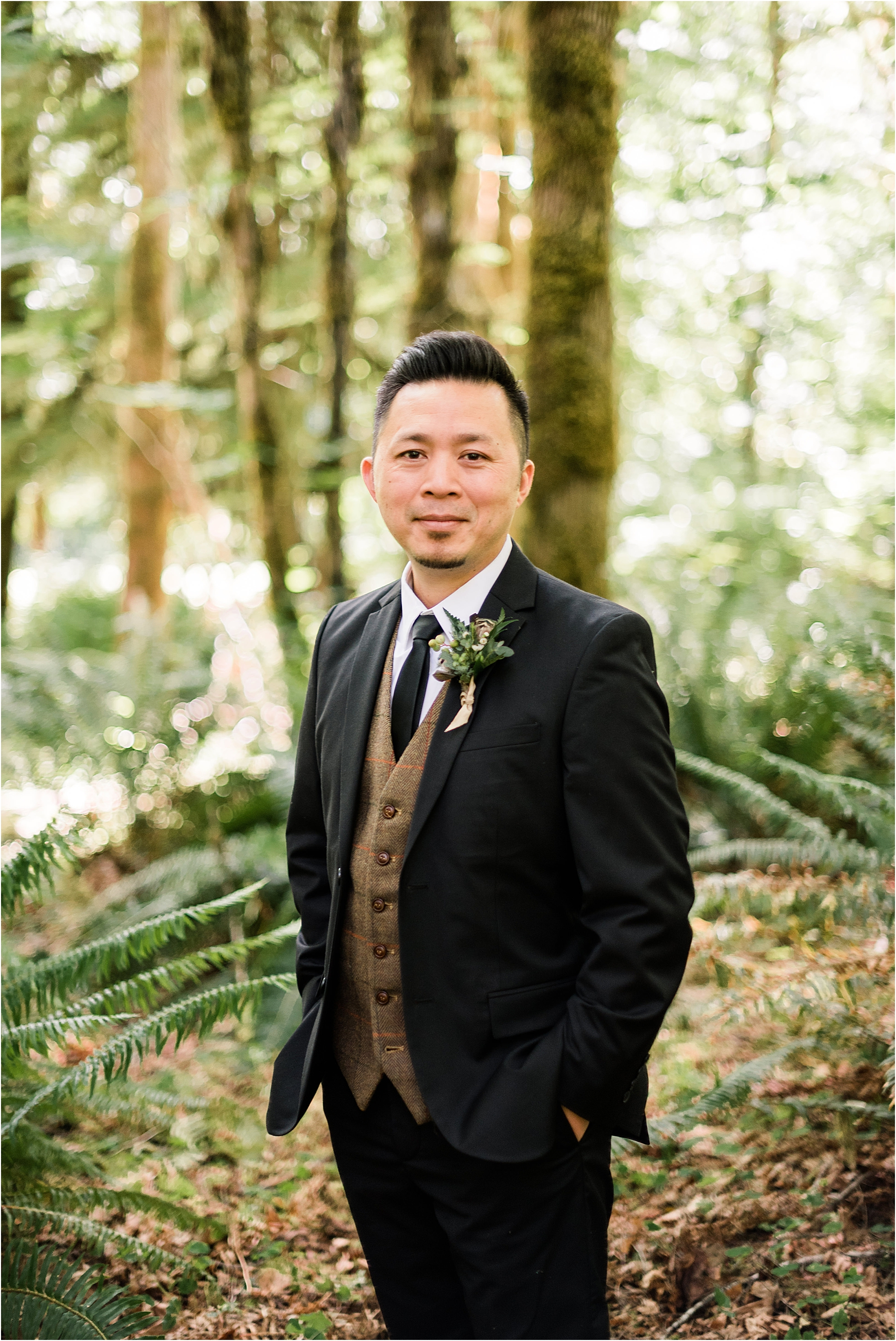 Groom portraits at Cassy & Viva's bohemian Oregon destination wedding at Camp Lane. Image by Forthright Photo.