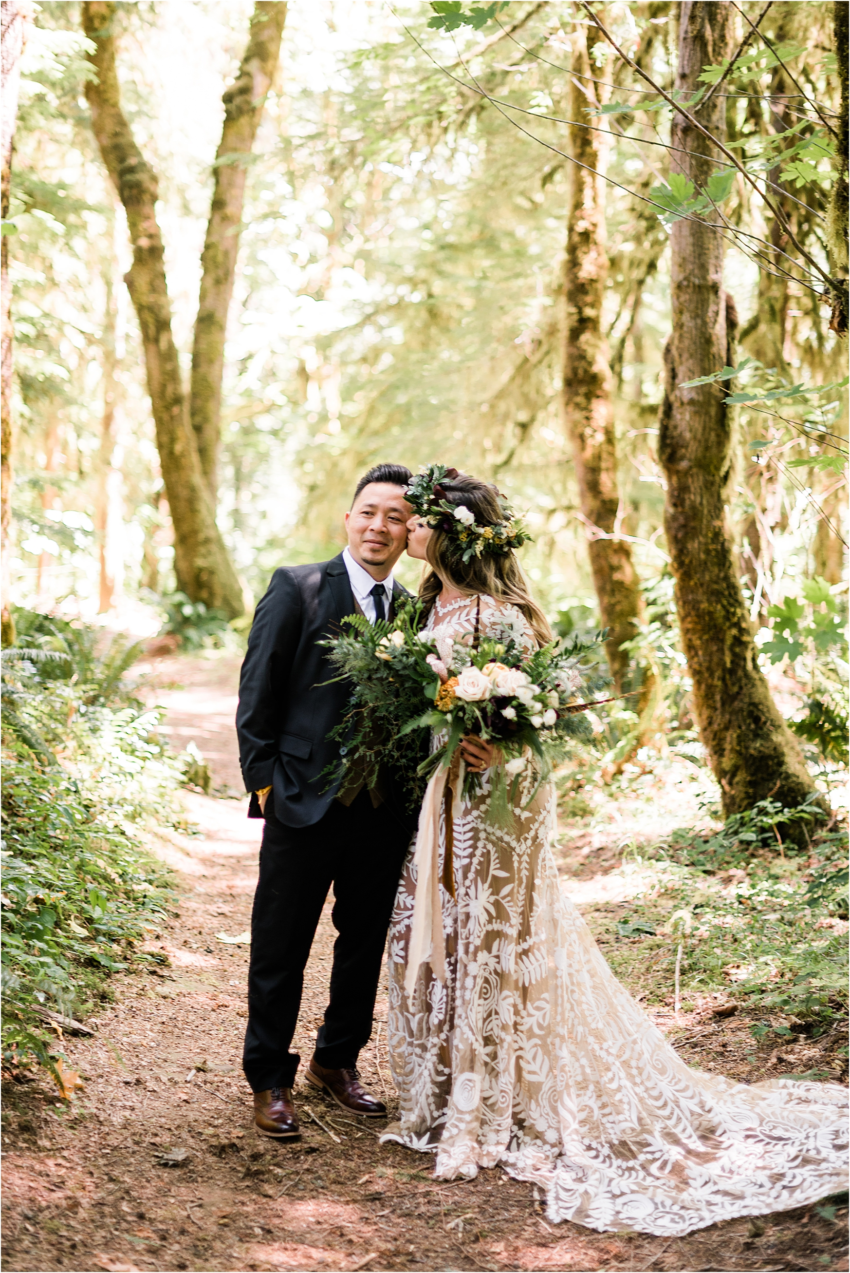 Bride and Groom portraits at Cassy & Viva's bohemian Oregon destination wedding at Camp Lane. Image by Forthright Photo.