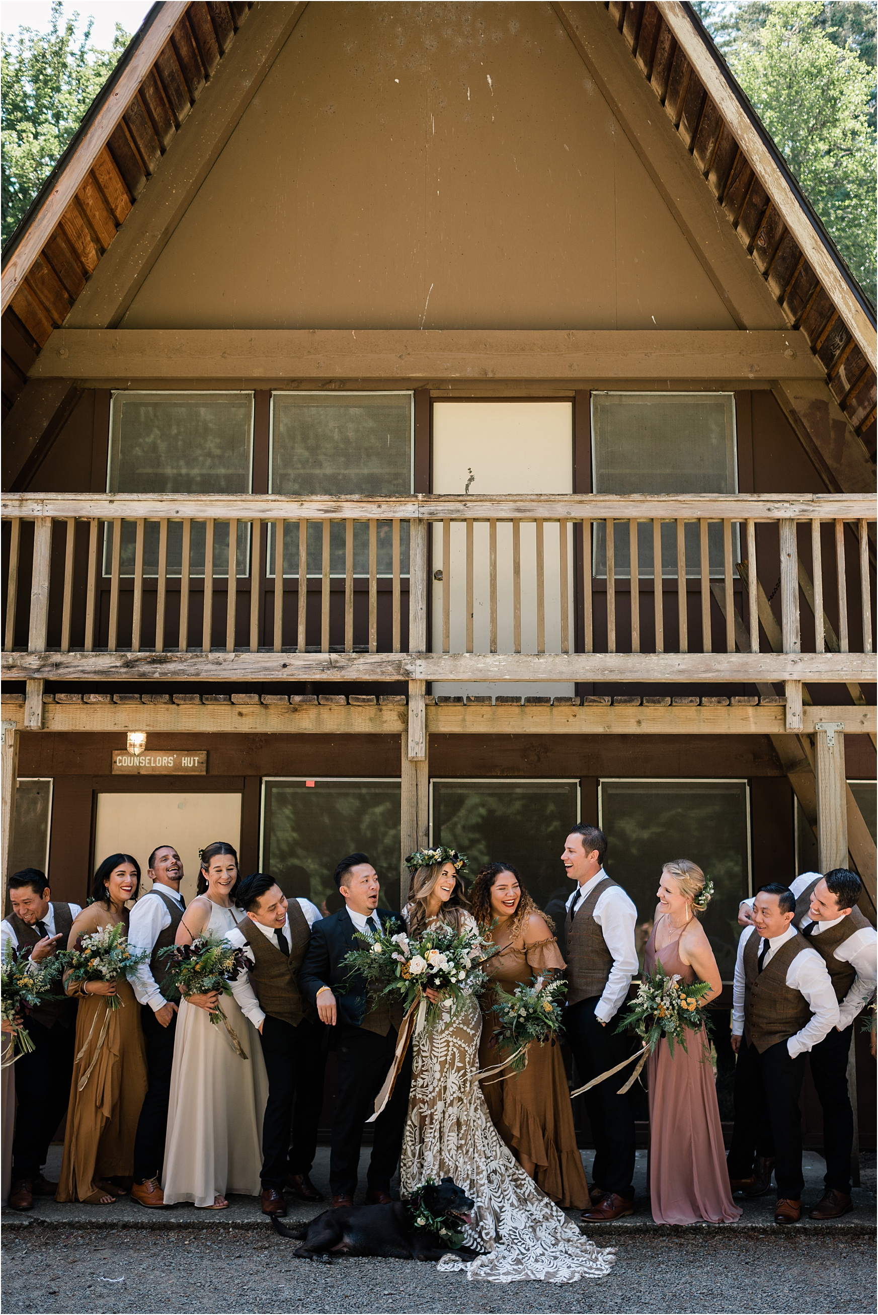 Wedding Party at Cassy & Viva's bohemian Oregon destination wedding at Camp Lane. Image by Forthright Photo.