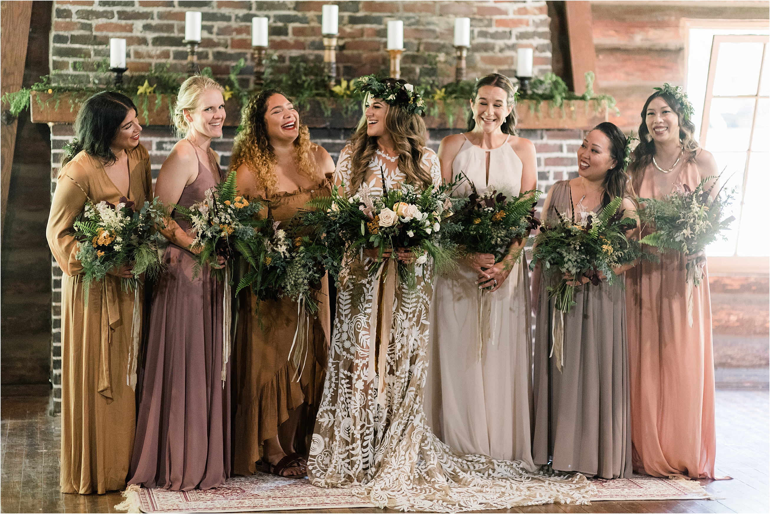 Bridesmaids at Cassy & Viva's bohemian Oregon destination wedding at Camp Lane. Image by Forthright Photo.