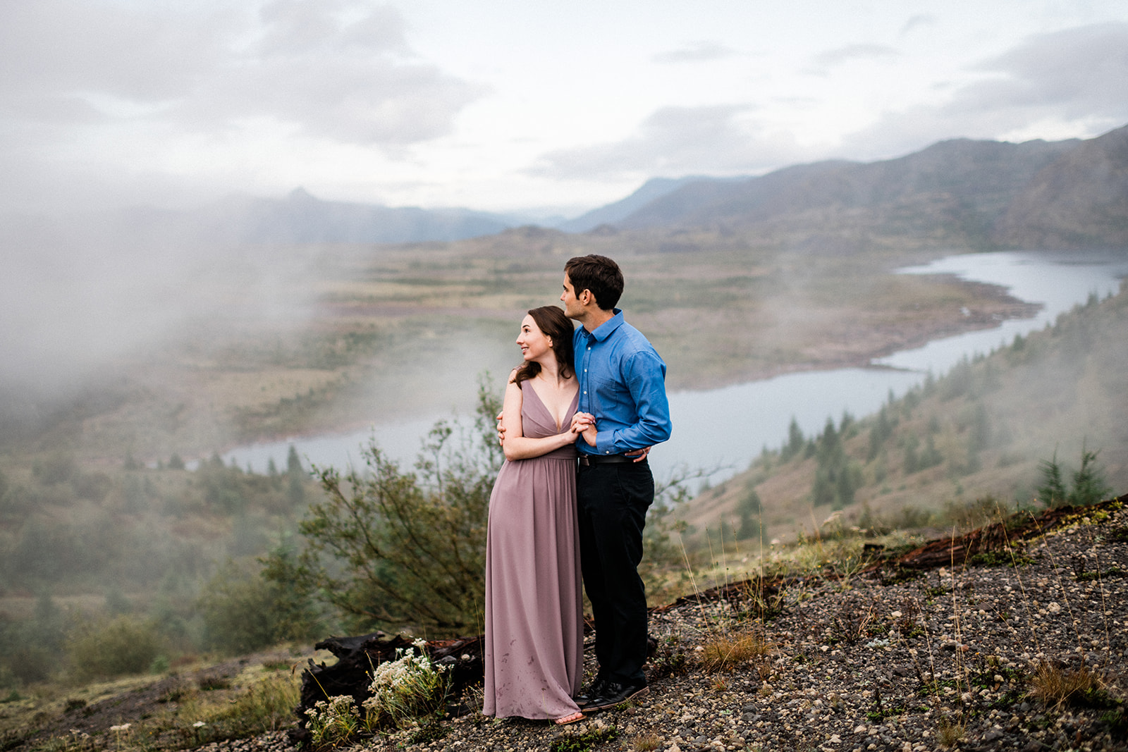 Foggy, Sunrise Engagement Session on Mt St Helens, WA. Image by Forthright Photo.