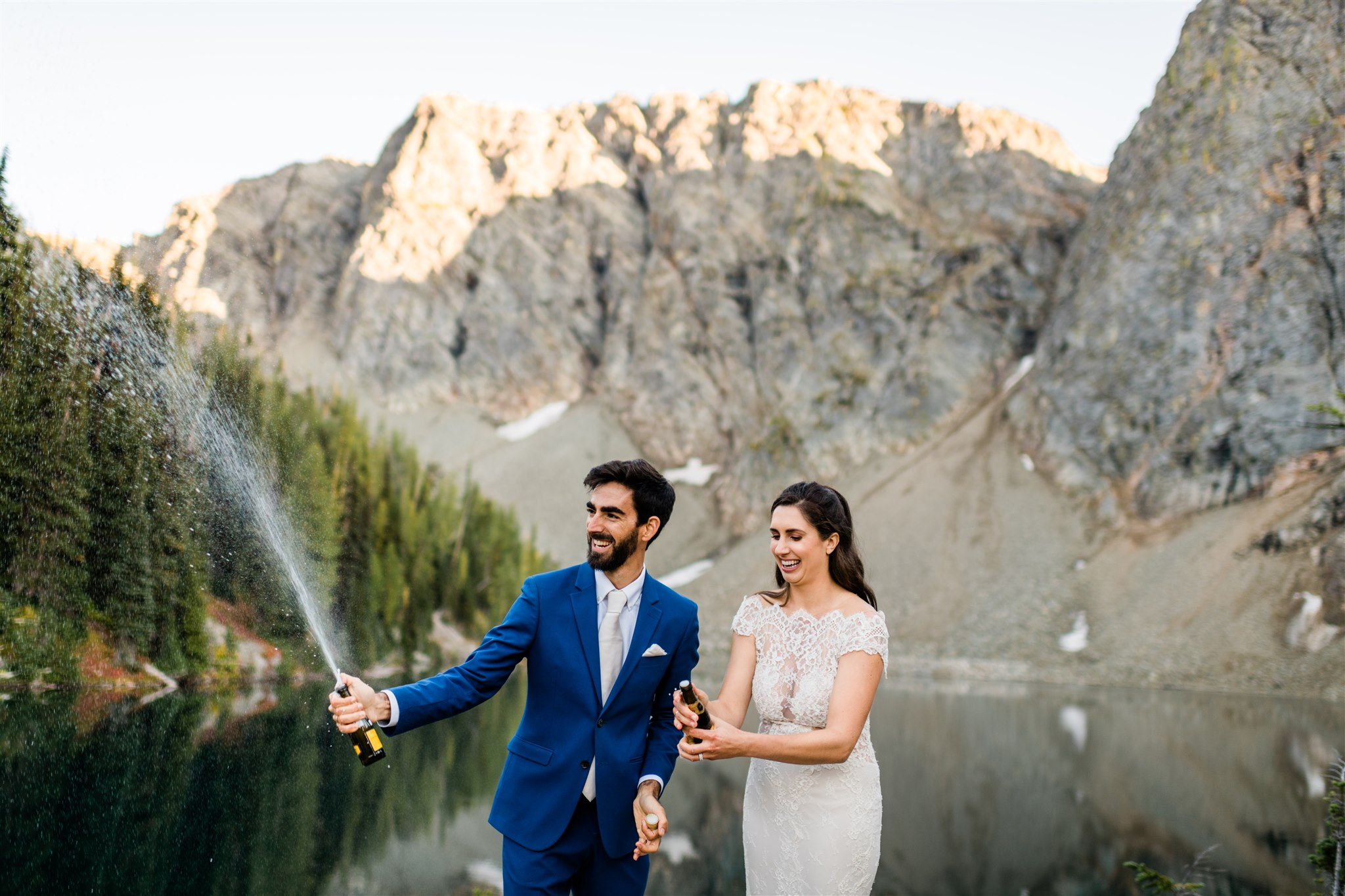 North Cascades adventure wedding, hiking wedding champagne pop toast. Image by Forthright Photo.