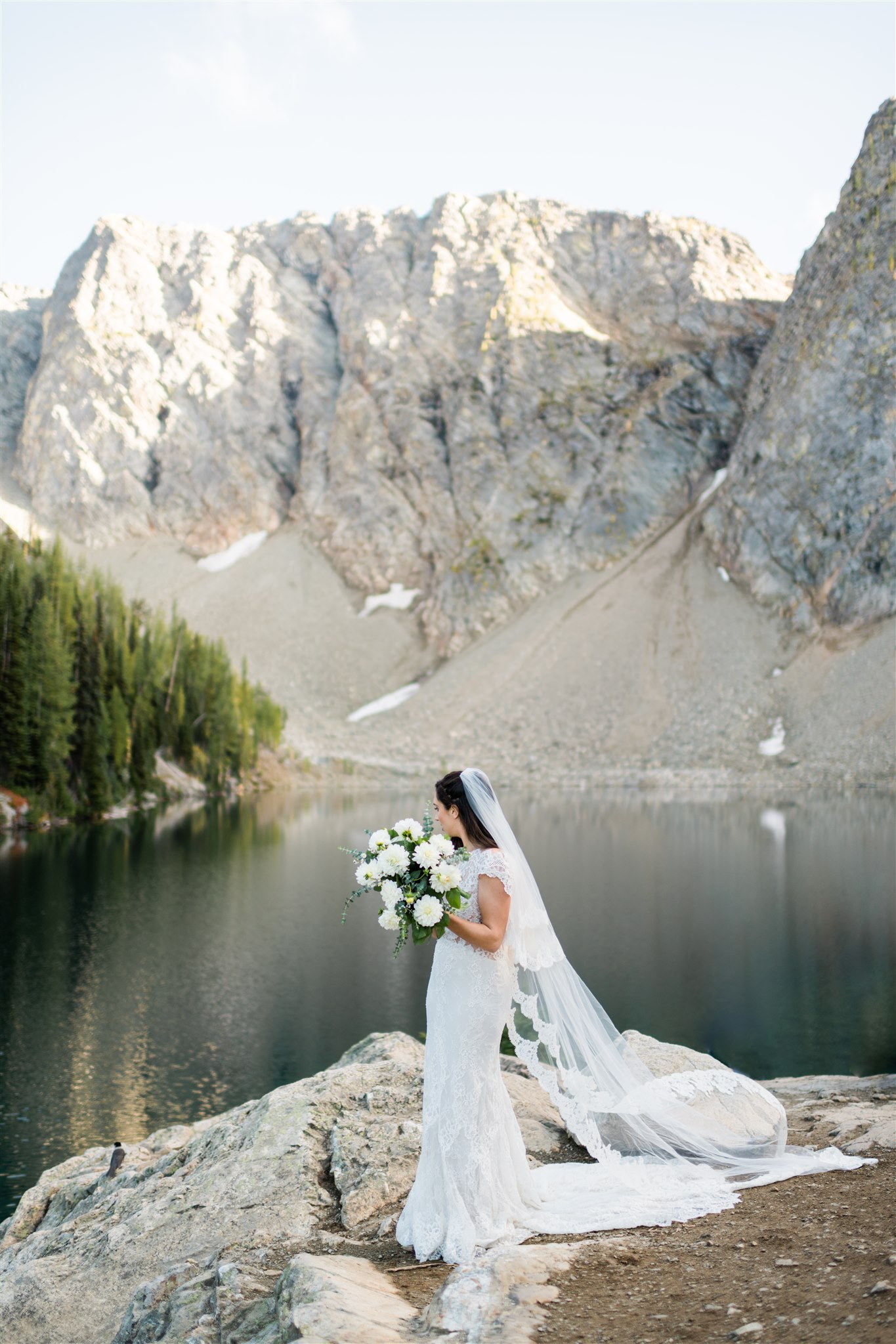 North Cascades adventure wedding, hiking bride. Image by Forthright Photo.