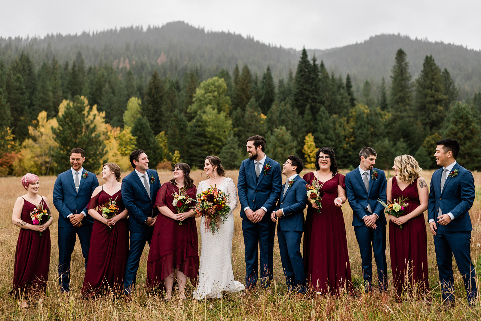 Wilson, Jamie, and their wedding party at their colorful fall Leavenworth wedding. Image by Forthright Photo, Seattle Wedding Photographers.